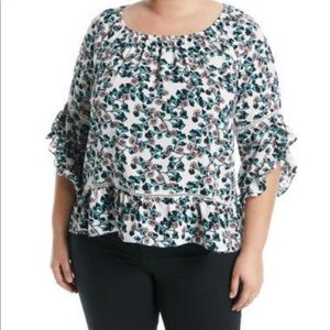 Fever Tops - 3/4-Sleeve Floral-Printed Ruffle Blouse